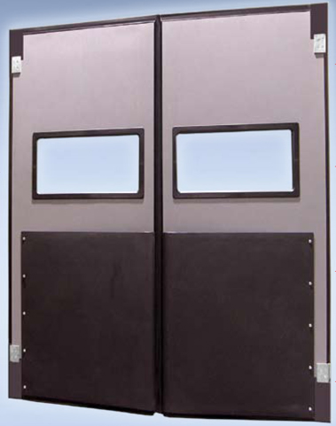 The tough 1/2\u201d thick gravity suspended panels flex to absorb impact. A large centre overlap assures a minimum of air loss. : impact door - pezcame.com
